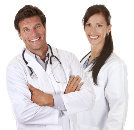 doctors are smiling on white isolated background photo