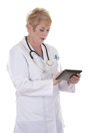 senior doctor holding tablet on white isolated background