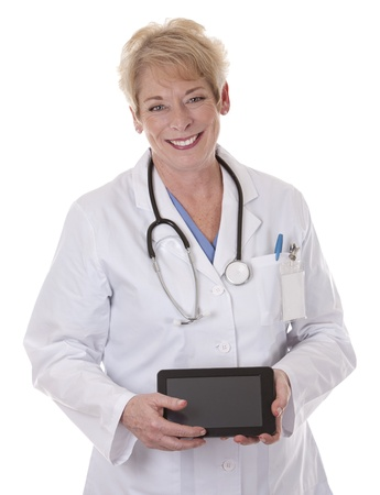 senior doctor holding tablet on white isolated background Stock Photo - 15358223