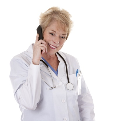 senior adult woman: caucasian doctor is talking on the phone in a great mood