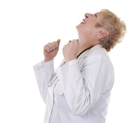 winning woman: caucasian doctor showing happy gesture on white background Stock Photo