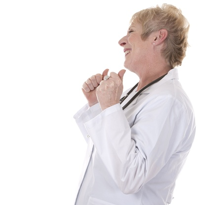 caucasian doctor showing happy gesture on white background Stock Photo - 15358202