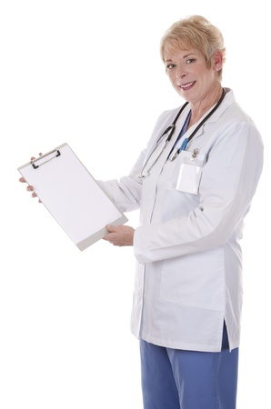 caucasian doctor is holding notes on white isolated background Stock Photo - 15358204