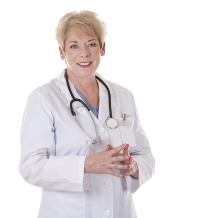 caucasian doctor is smiling on white isolated background Stock Photo - 15383612