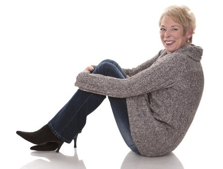 casual blond woman in her fifties on white isolated background Stock Photo - 15441275
