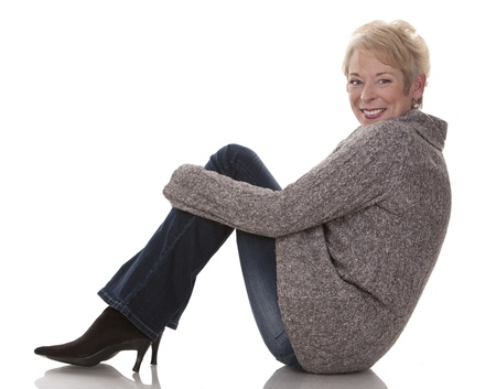 casual blond woman in her fifties on white isolated background Stock Photo - 15441270
