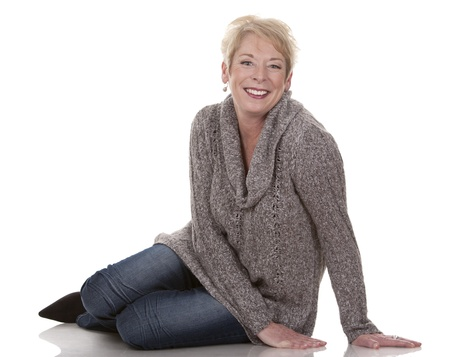 casual blond woman in her fifties on white isolated background Stock Photo - 15441278