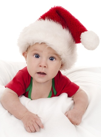 baby girl wearing santa hat on white isolated background Stock Photo - 15441268