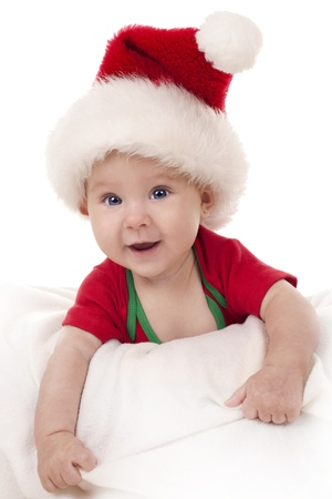 baby girl wearing santa hat on white isolated background Stock Photo - 15441272