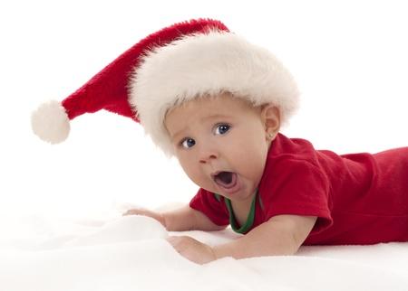 baby girl wearing santa hat on white isolated background Stock Photo - 15441269
