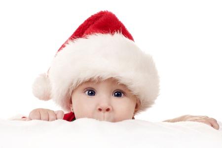 Baby Mädchen tragen santa hat auf weißem Hintergrund