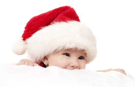 baby girl wearing santa hat on white isolated background Stock Photo - 15562776