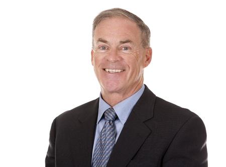 Senior Business Mann in Anzug auf weißem Hintergrund