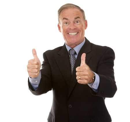 thumb's up: senior business man showing thumbs up gesture on white Stock Photo