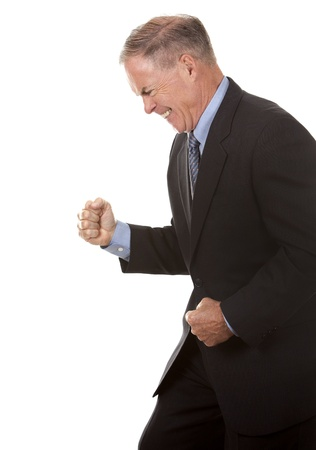 senior business man showing happy gesture on white photo