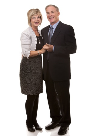 formal couple posing together on white isolated background photo