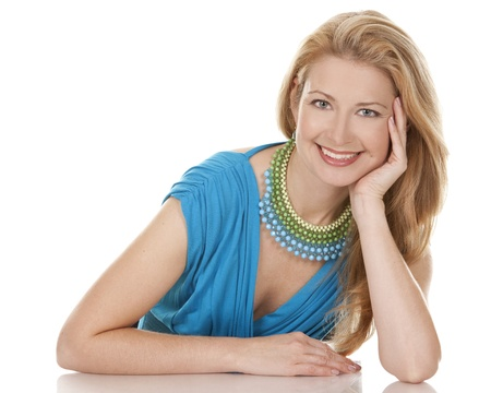 classy blond woman in her 40s wearing turquois dress Stock Photo - 15814938