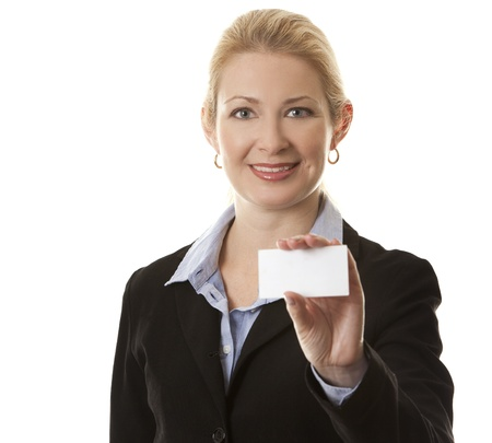 business woman in her 40s holding business card Stock Photo - 15870030