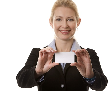 business woman in her 40s holding business card Stock Photo - 15870029