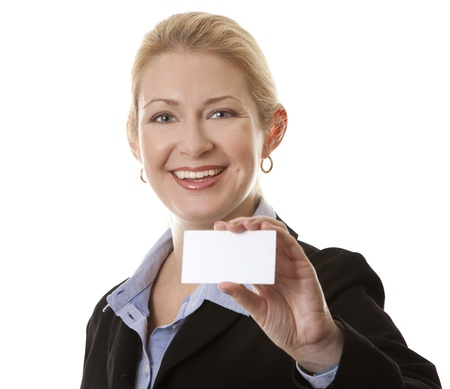 business woman in her 40s holding business card photo