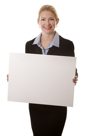 business woman in her 40s on white isolated background photo