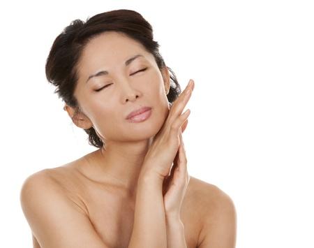 beautiful asian brunette nude on white isolated background Stock Photo - 16302344