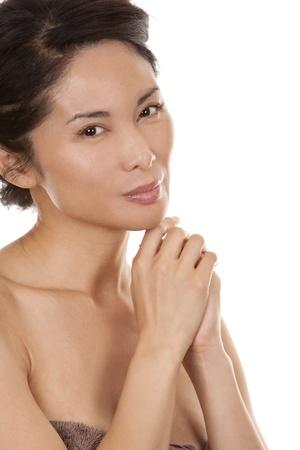 beautiful asian brunette nude on white isolated background Stock Photo - 16302356