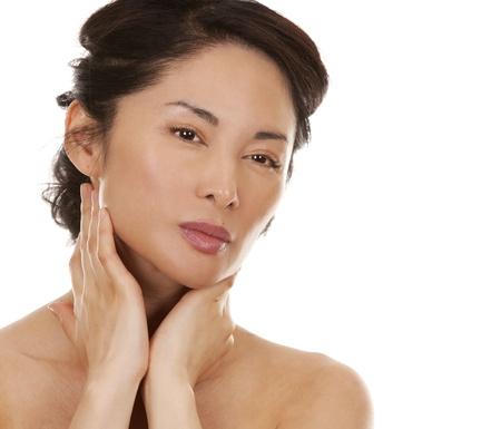 beautiful asian brunette nude on white isolated background Stock Photo - 16302346