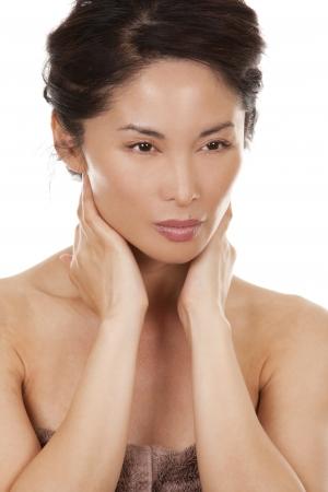 beautiful asian brunette nude on white isolated background Stock Photo - 16302399