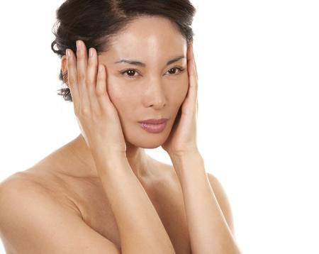 beautiful asian brunette nude on white isolated background Stock Photo - 16374422