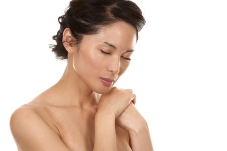 beautiful asian brunette nude on white isolated background Stock Photo - 16374420
