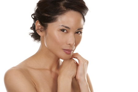 beautiful asian brunette nude on white isolated background Stock Photo - 16374426