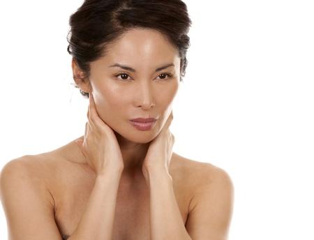 beautiful asian brunette nude on white isolated background Stock Photo - 16374418