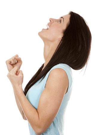 brunette in casual outfit very excited on white background Stock Photo - 16560065