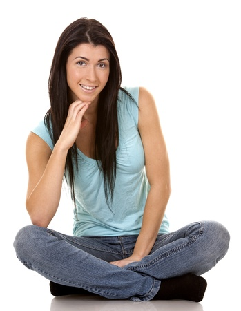brunette wearing blue casual outfit on white isolated background Stock Photo - 16560083