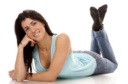 brunette wearing blue casual outfit on white isolated background Stock Photo - 16560086