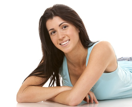 brunette wearing blue casual outfit on white isolated background Stock Photo - 16560063