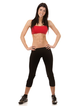 brunette wearing red and black fitness outfit on white background Stock Photo - 16607658