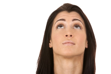 close up on brunette's face as she is looking up Stock Photo - 16656748