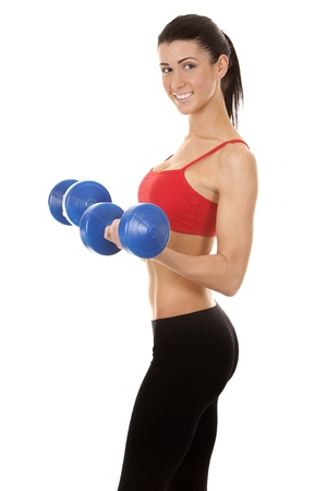 athletic brunette lifting weights on white isolated background Stock Photo - 16656753