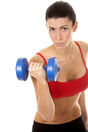 athletic brunette lifting weights on white isolated background Stock Photo - 16656750