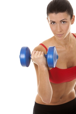 athletic brunette lifting weights on white isolated background Stock Photo - 16684435