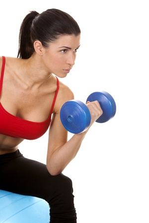 athletic brunette lifting weights on white isolated background Stock Photo - 16757023