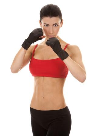 athletic brunette posing as american football girl on black background Stock Photo - 16878825