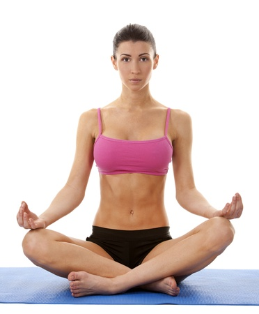 active brunette in yoga position on white isolated background Stock Photo - 17500814