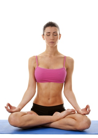 active brunette in yoga position on white isolated background Stock Photo - 17500821