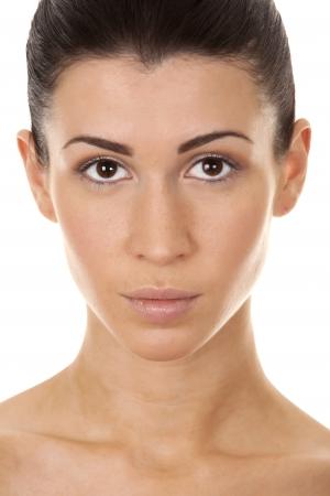 beautiful brunette close up on white isolated background Stock Photo - 17500820
