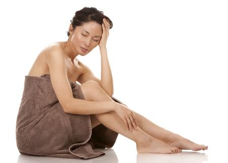 beautiful asian brunette nude on white isolated background Stock Photo - 17573573