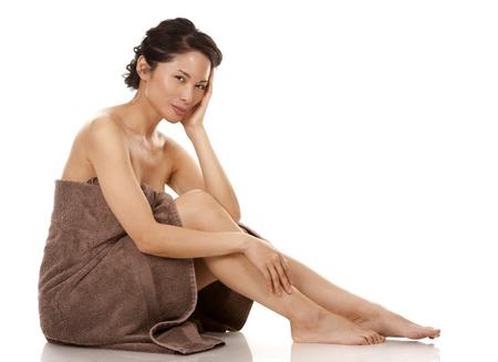 beautiful asian brunette  on white isolated background Stock Photo - 17699104