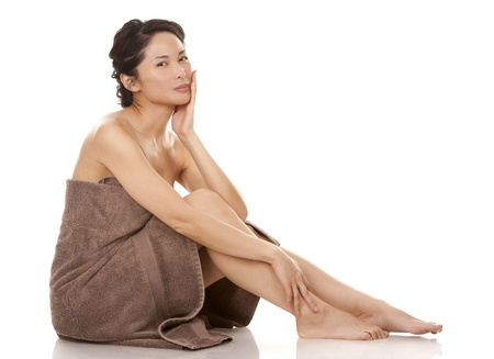 beautiful asian brunette  on white isolated background Stock Photo - 17699099